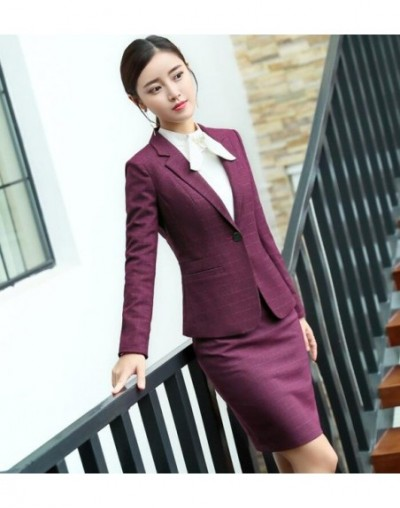 New Fashion plaid pants suit women temperament business Interview long sleeve blazer and pant office ladies plus size work w...