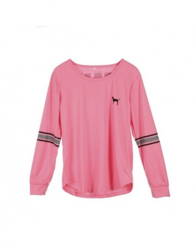 Fashion Women Casual Shirts Loose O Neck Long Sleeve Letter Solid Blouse Spring Summer New - Pink - 4Q3099115987