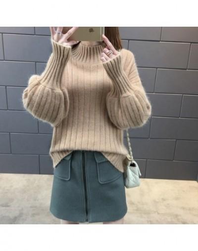 Lantern Sleeve Women Autumn Winter Sweater Solid Black White Turtleneck High Quality Warm Female Jumper Casual - Light brown...