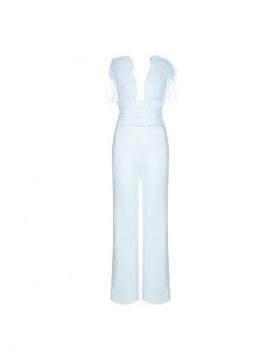 2019 New Arrival Mesh Bow Tie Detail Frill Cinching Sexy Deep V Neck Sleeveless Backless Straight Bandage Jumpsuit - White -...
