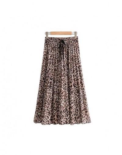 women stylish leopard print pleated skirt snake faldas mujer Drawstring tie elastic waist casual mid calf skirts BA108 - as ...