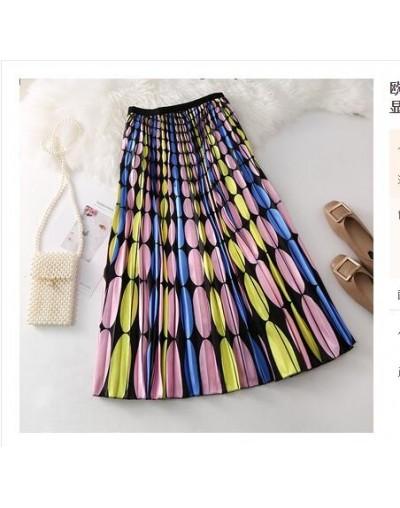 2019 summer women's printed pleated skirt large swing girl tide long cartoon print high waist slimming organ pleated skirt -...
