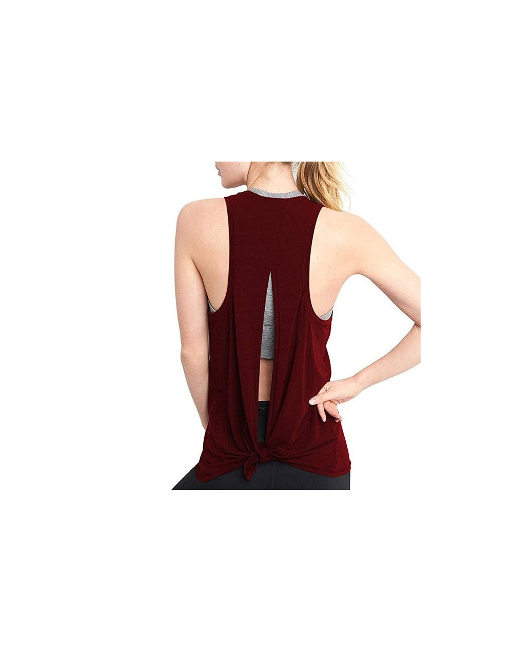 Hot Women Tank Tops Summer Sleeveless O-neck Solid Hollow Back T-shirt hh88 - Red - 5F111219311181-2