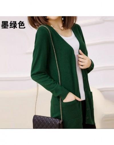 Ladies Wool Sweaters Autumn 2019 Plus Size 4XL Medium Length Cashmere Cardigans Women Sweater Pocket Outerwear WZL1459 - Dar...