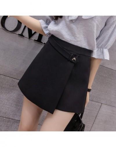 Irregular skirt shorts shorts female summer 2019 new chiffon shorts Korean version of the self-cultivation high waist - Blac...