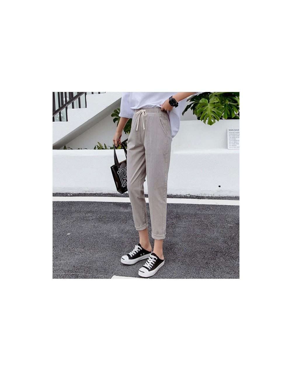 Cotton Linen Pants for Women Trousers Loose Casual Solid Color Women Harem Pants Plus Size pants Capri Women's Summer - mid-...