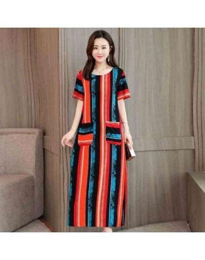 Women summer dresses casual print vintage long dress loose plus size maxi dress robe vestidos - Color 6 - 4V3093959706-6