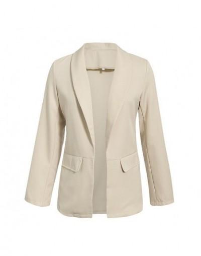 Casual Autumn Winter Blazer Women 2019 Solid Plus Size High Fashion Retro Pocket White Femme Coats - creamy-white - 5N111178...