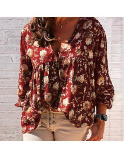 Women Lady Long Sleeve V Neck Printing Top Loose Casual for Autumn Party Beach TY66 - Red - 51111190289389-5