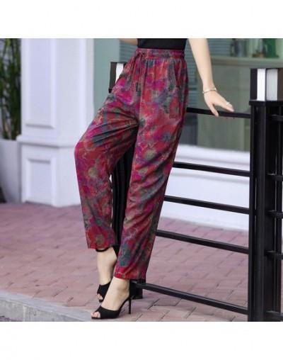 Summer Beach Harem Pants Women High Waist Casual Bloomers Printed Loose Lace Up Trousers Women Elastic Waist Wide Leg Pants ...