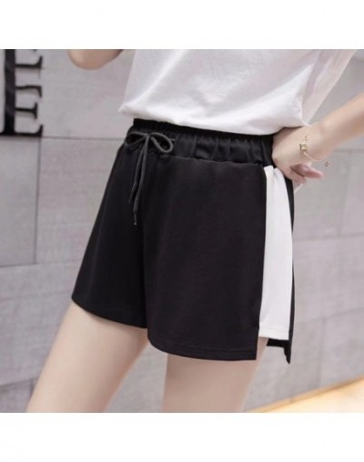 casual sports shorts female summer wide leg large fat mm running high waist thin section hot pants loose home pajamas - blac...