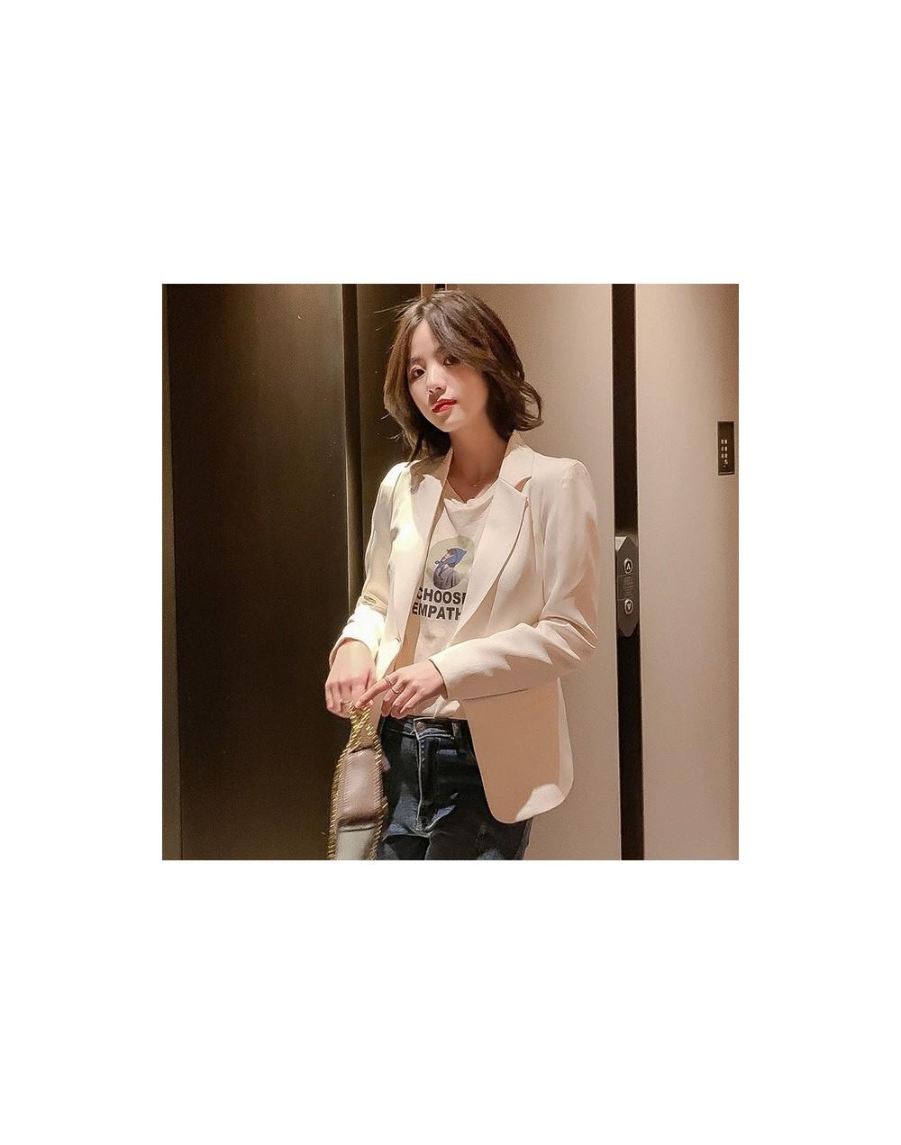 2019 autumn new Korean women's small suit jacket long-sleeved casual temperament wild short women's suit office jacket - F -...