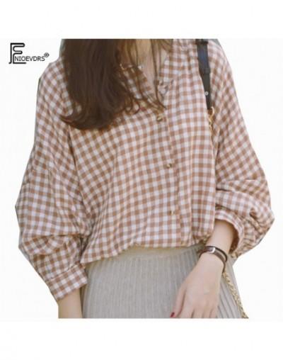 Casual Loose Top Plus Size Clothes Women Fashion Long Sleeve Blouse Temperament Lady Vintage Plaid Top Long Boyfriend Shirt ...