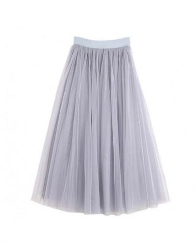 Women skirts Summer Lace Princess Fairy Style 3 layers Voile Tulle Skirt Bouffant Puffy Fashion Skirt Long Tutu Skirts - Gre...