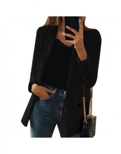 2019 New Autumn Female Suit Coat Female Fashion Solid Color Cardigan In The Long Section Of The Suit Jacket Female - black -...