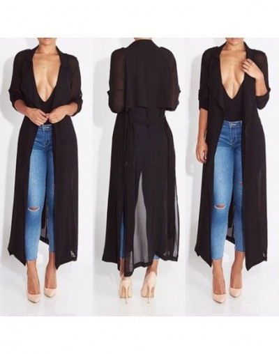 Women Chiffon Long Sleeve Evening Party Oversized Maxi Tops - Black - 4U3036946329-1