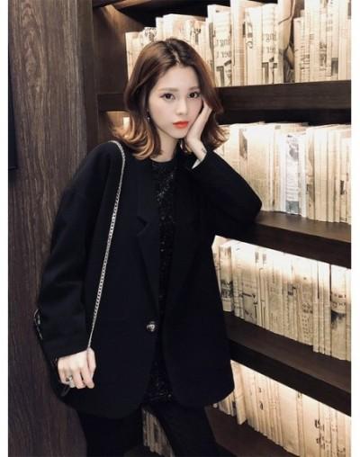 Korean 2019 Women Oversized BlazersVintage Blazer and Jackets Femme Plus Size Casual Chaqueta Mujer Bleiser Feminino - Black...