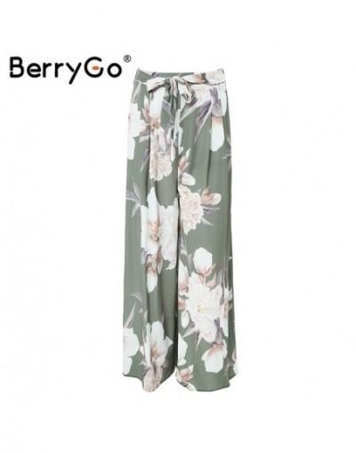 Sash loose print wide leg pants women Elastic floral boho casual pants female 2018 Summer beach high waist trousers - Print1...