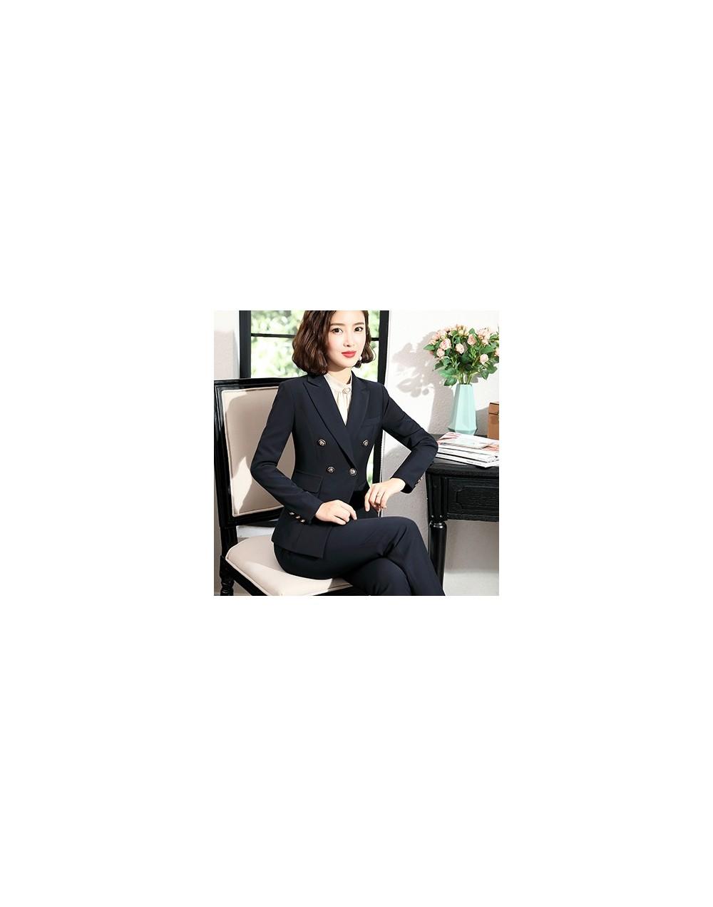 Elegant 2019 Winter New formal pant suit sets office ladies work wear suits black dark blue - Dark Blue Pant Suit - 57111223...