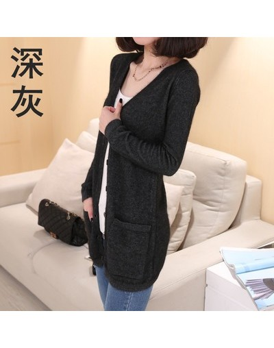 Spring Autumn Winter Cashmere Cardigan Female Medium-Long Wool Sweater Loose Long-sleeve Plus Size Wild Solid Warm Slim - Da...