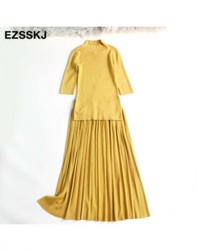 New Glitter sexy Women Sweater Pullover Pleated dress 2-piece set elegant Knitted suit Slim Jumper Autumn Winter dress suit ...