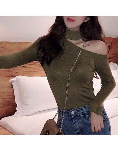 Women Pullovers Sweater 2019 Knitted Autumn Spring Fashion Bottoming Sexy Off the Shoulder Elegant Ladies Tops SW9989 - Army...