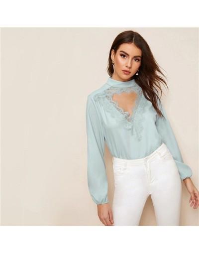 Eyelash Lace Trim Cut-Out Front Top 2019 Elegant Blue Pastel Stand Collar Blouse Chic Long Sleeve Summer Women Blouses - Blu...