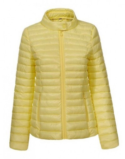 New Fashion Women Casual Solid Zipper Slim Fit Lightweight Thin Parkas Winter Coats Female Winter Jackets WMA-7747 - Yellow ...