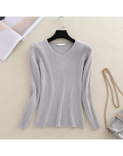 NEW Autumn Winter Women Pullovers Sweater Knitted Elasticity Casual Jumper Fashion Slim V-neck Short Female Bottom Sweaters ...