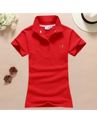 size S-4XL women polo shirt 2017 spring summer cotton ladies short sleeve tee female turn-down collar Embroidery Solid polo ...