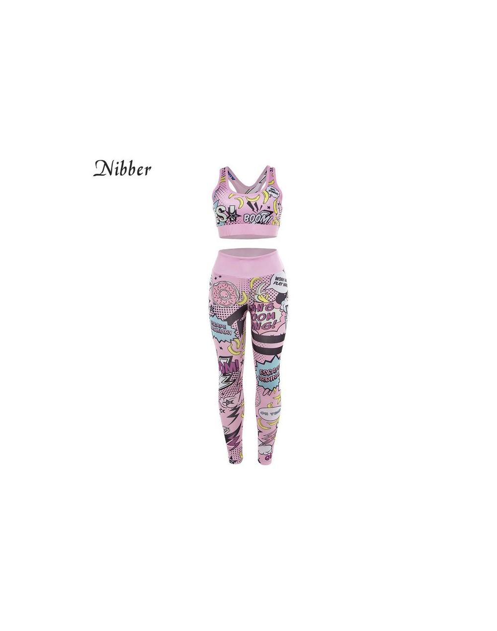 summer Milk silk Cartoon Fitness wear 2two pieces sets 2019 stretch Slim Jogging sportswear Basic crop top camis leggings - ...