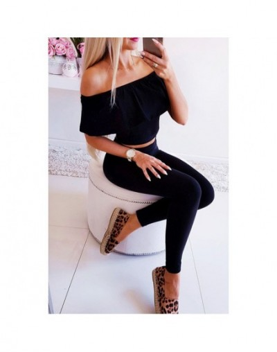 Two Piece Set Tracksuit Women Two Pieces Outfits Casual Off Shoulder Solid Top And Pants Summer Womens Clothing 2019 SJ2708F...