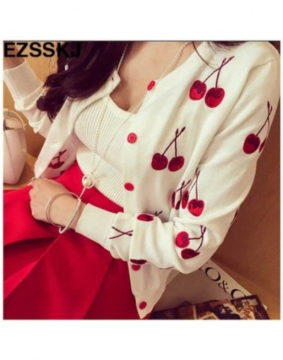 2017 Autumn Women Sweater Tops cherry emroidery Knitted cardigan Long Sleeve lady spring Women Cardigan Sweater sweet Jacket...