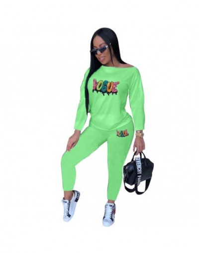 Fashion Letters Sequins Women Casual Tracksuits Long Sleeves Top Pantsuits Two Pieces Streetwear Club Outfits Autumn Winter ...
