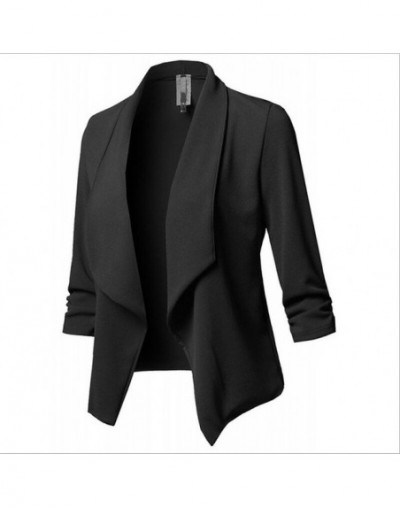 Small Suit Slim Ladies Blazers Plus Size Blazer Women Solid Color Suit Long Sleeved Lapel Casual Work Wear Jacket - Black - ...