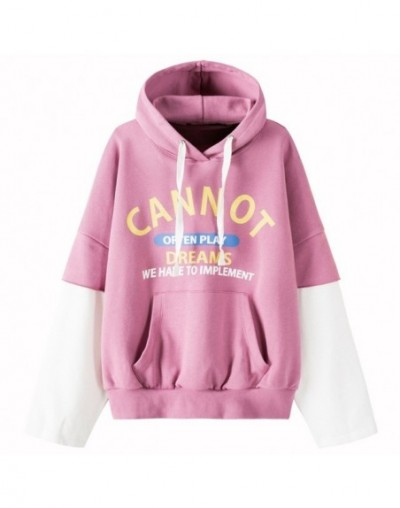 Women Fake 2-Piece Oversized Graphic Hooded Sweatshirt with Kangaroo Pocket Pullover Hoodie Drawstring Hood Ribbing at Hem -...