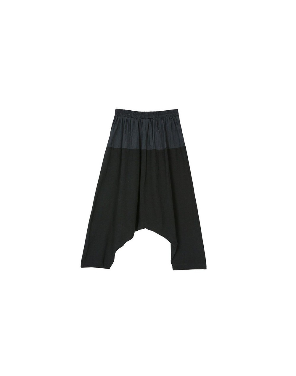 Spring Pacthwork Hit Color Women Pant Elastic Waist Mid Front Pleated Female Ankle-length Harem Pants Women's Clothing - bla...