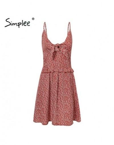 Print women mini dress Spaghetti strap lace up boho summer sundress Casual ruffle female short vestidos 2019 - Red - 4530793...