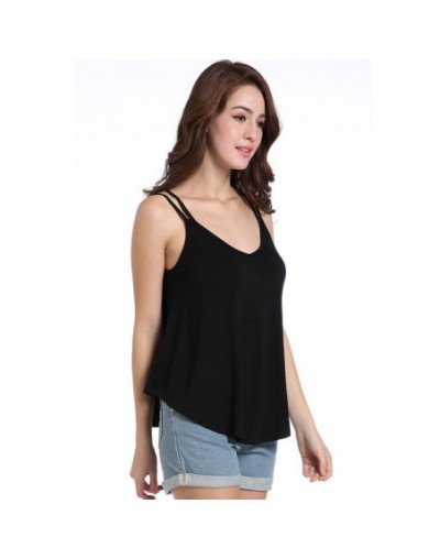 Women Fashion Summer Solid Loose Casual Pleated Blouse Tank Top sexy top Camisole 2019 - Black - 5L111218517110-1