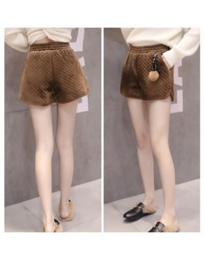 Autumn Winter Fashion Geometric Velour Shorts Women Vintage Pleuche Wide Leg shorts Elastic Waist Warm Thick Female Shorts M...