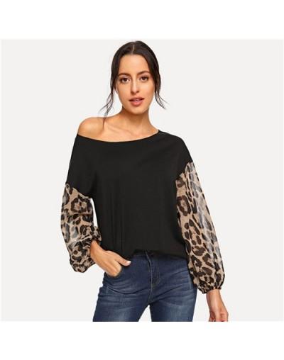 Black Leopard Contrast Mesh Pullover One Shoulder Bishop Sleeve Sweatshirt Women Autumn Patchwork Elegant Sweatshirts - Blac...