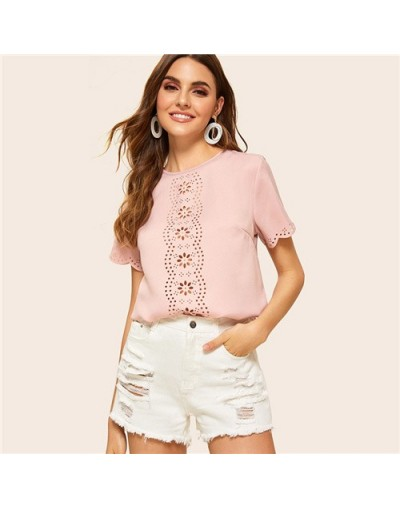 Casual Scallop Trim Sleeve Blouse Women 2019 Summer Hollowed Out Detail Blouses Ladies Solid Keyhole Back Button Top - Pink ...