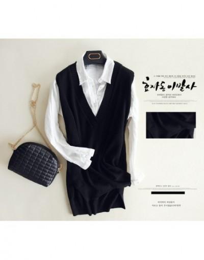 Korean Sleeveless Knitted Vest Women Gilet Spring Autumn Cashmere Sweater V Neck Pullovers Split Casual Loose Dress Female T...