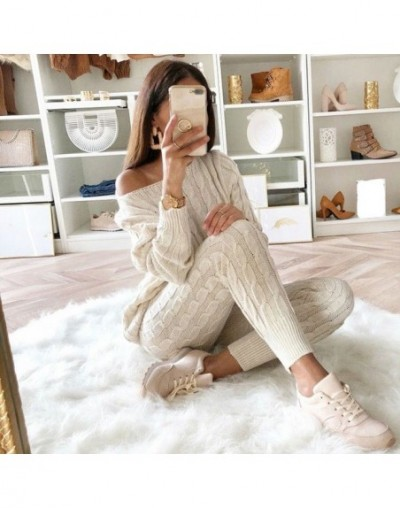 Womens Sweaters 2PCS Sets Jumpsuit Knitted Top Long Pants Ladies Winter Warm Suits Outfits Bodycon Casual Playsuit - Pink - ...