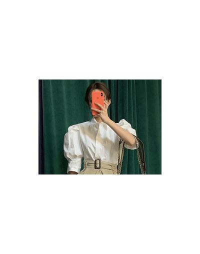 bubble sleeve shirt waist split skirts two piece set vintage elegant white shirt Summer Women's Sets New 2 pecas women Suits...