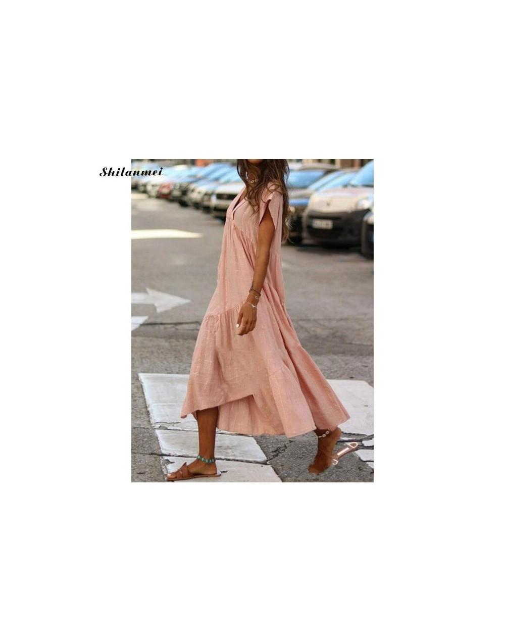 Summer Women V-Neck Pure Color Loose Dress Casual Short Sleeve Party Dresses Ladies Fashion Female Beach Long Dress Vestido ...
