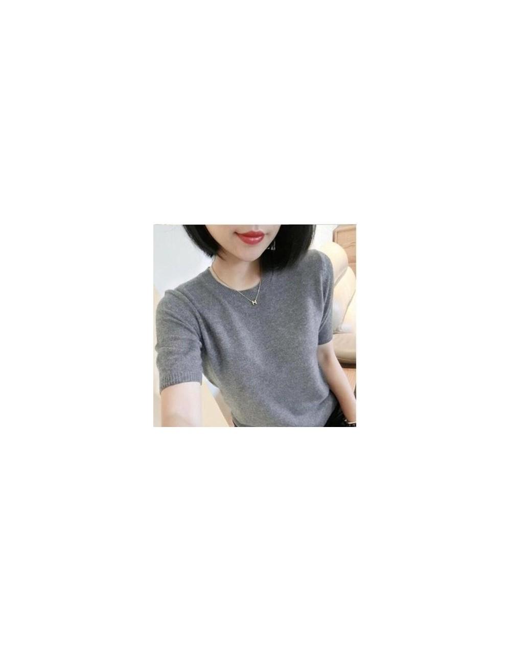 Cashmere Blended Knitted Sweater Women Tops Summer V-neck Short Sleeve Soft Comfortable Solid Color Shirt Sweater Pull - lig...