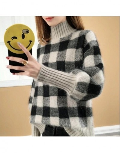 2019 Autumn Winter Women Plaid Knitted Sweater Long Sleeve High Neck Sweater Casual Pullover Jumper - Gray - 4T3956152045-1