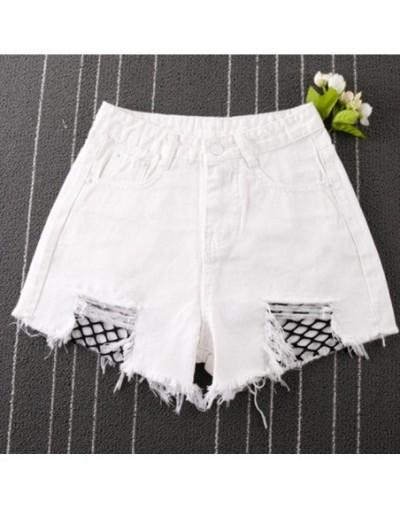 Fishnet Mesh Denim Shorts Women High Waist Sexy Frayed Hem Summer Shorts 2017 Ripped Shorts Plus size S-3XL - White - 493920...