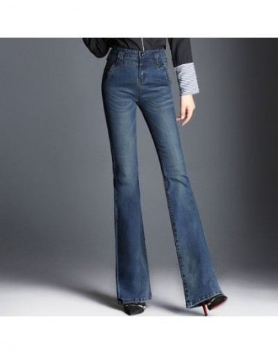 Women Boot Cut Jeans Long Stretch Flared Jeans Beautiful Blue Wide Leg Zipper Washed Retro Trousers For Autumn Winter Plus S...